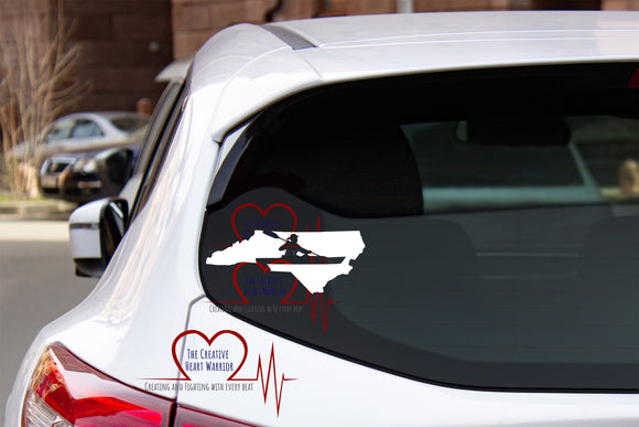 NC Female Kayaker Vinyl Decal - The Creative Heart Warrior