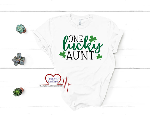 One Lucky Aunt Adult T-Shirt - The Creative Heart Warrior
