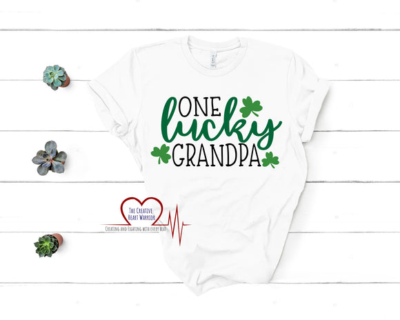 One Lucky Grandpa Adult T-Shirt - The Creative Heart Warrior