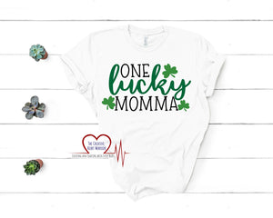 One Lucky Momma Adult T-Shirt - The Creative Heart Warrior