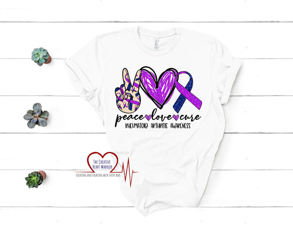 Peace Love Cure Rheumatoid Arthritis T-Shirt - The Creative Heart Warrior