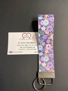 Spring Floral Faux Leather Key Fob Wristlet - The Creative Heart Warrior