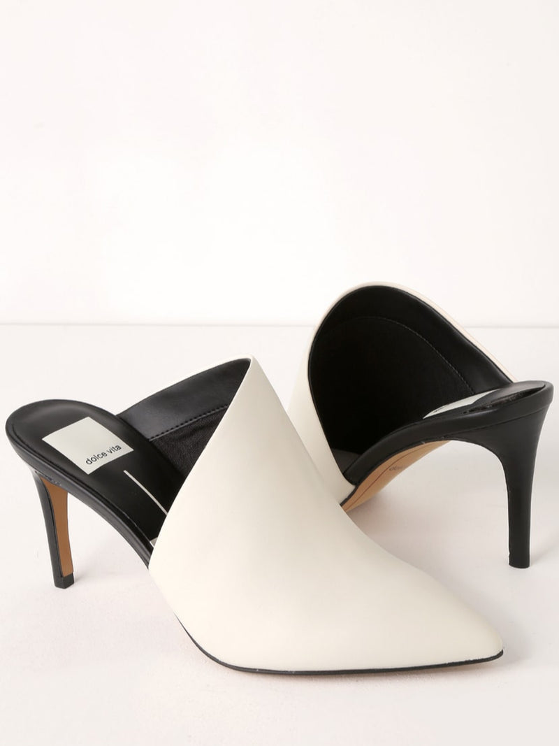 Camala White Leather Mule