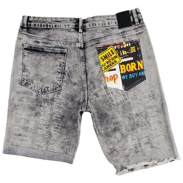 Born Fly Cheque Denim Short