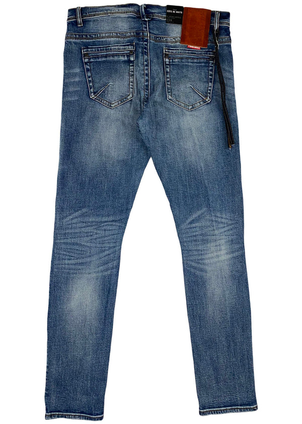 Cote de Nuits - Indigo Ripped Patched Denim Pant (cdn-wb-205)