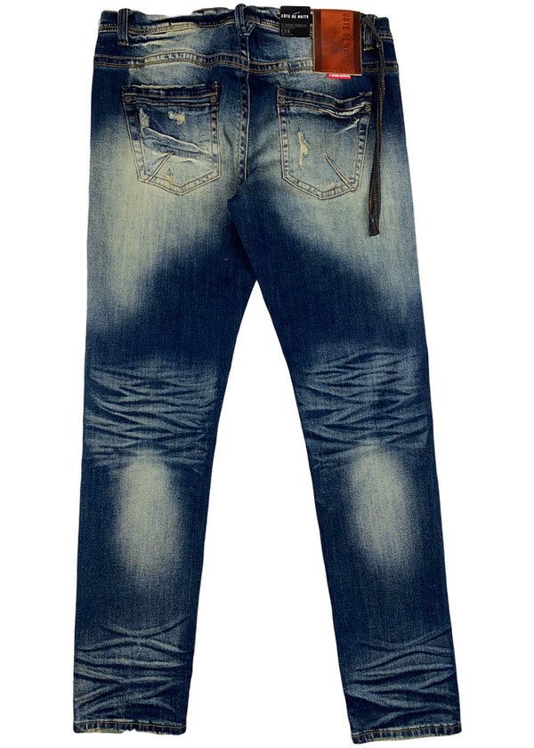 Cote de Nuits - Indigo ripped patched denim pant earth tone wash (cdn-wb-210)