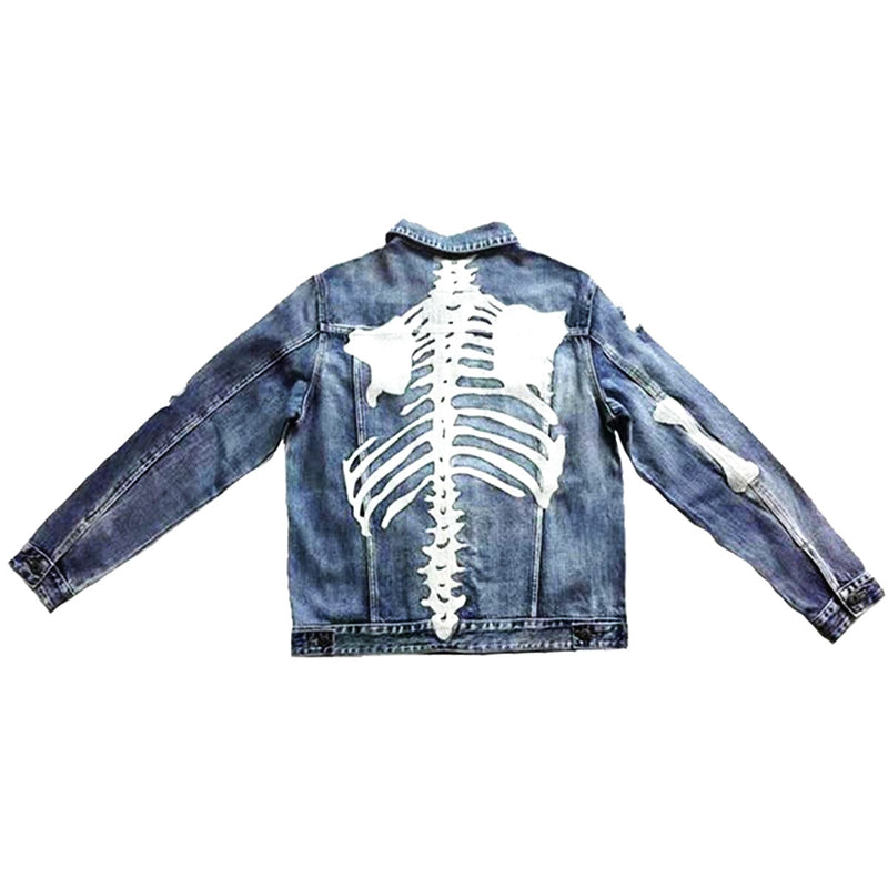 Foreign Local 1.5 - Light Sand Wash Chain Stitch Embroidered Spiral Denim Jacket