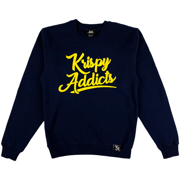 Krispy Addicts - Krispy Logo Raised Crewneck Navy (yellow)