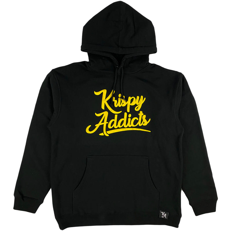 Krispy Addicts - Krispy Logo Raised Hoodie Black (yellow)