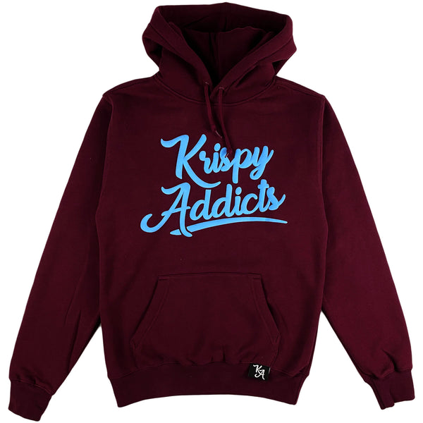 Krispy Addicts - Krispy Logo Raised Hoodie Maroon (light blue)