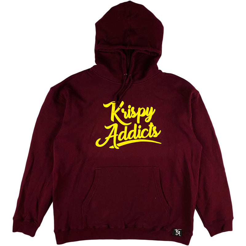 Krispy Addicts - Krispy Logo Raised Hoodie Maroon (yellow)