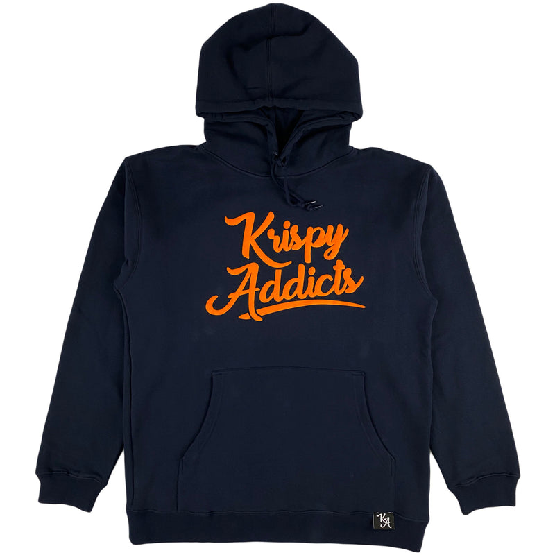 Krispy Addicts - Krispy Logo Raised Hoodie Navy (orange)
