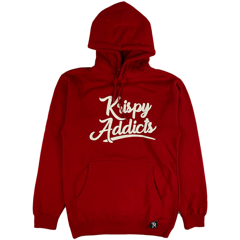 Krispy Addicts - Krispy Logo Raised Hoodie Red (white)