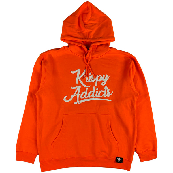 Krispy Addicts - Krispy Logo Raised Hoodie Safety Orange (white)