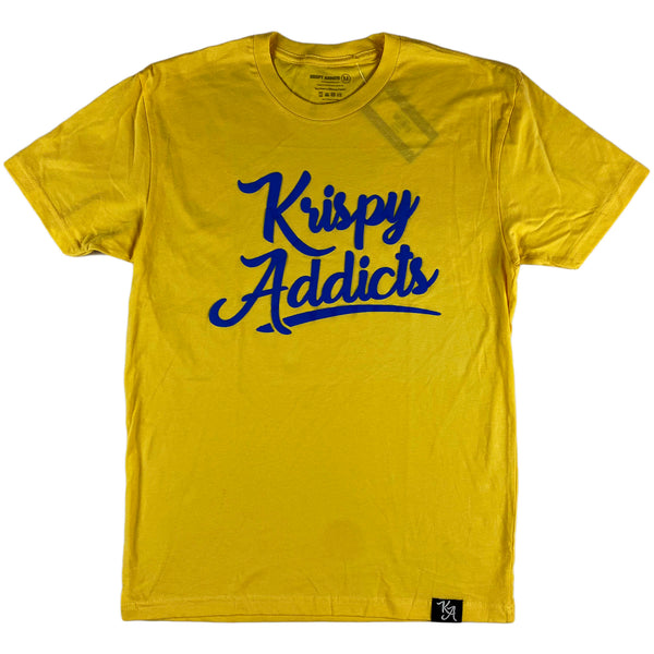 Krispy Addicts - Krispy Logo Raised Tee Banana Cream (royal blue)