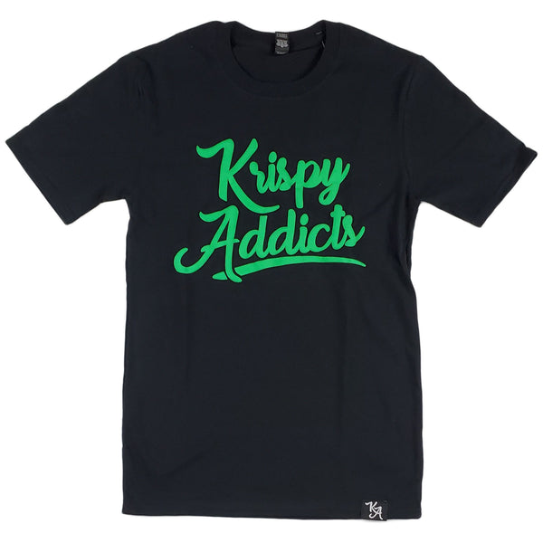 Krispy Addicts - Krispy Logo Raised Tee Black (green)