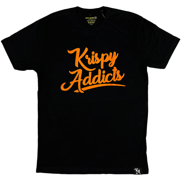Krispy Addicts - Krispy Logo Raised Tee Black (orange)