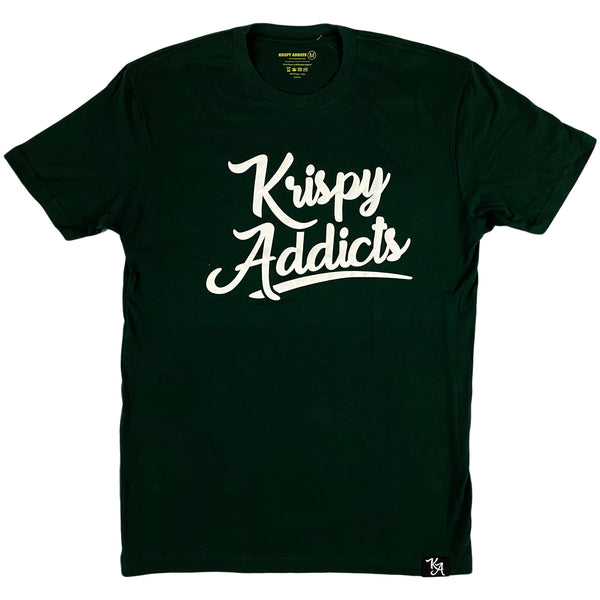 Krispy Addicts - Krispy Logo Raised Tee Forest Green (white)