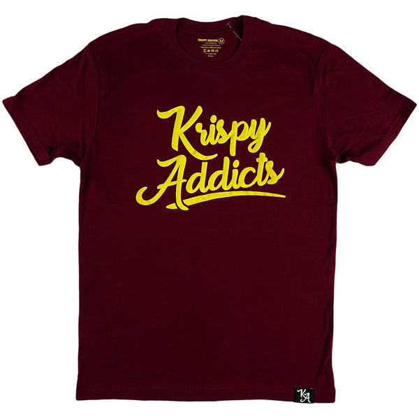 Krispy Addicts - Krispy Logo Raised Tee Maroon (yellow)
