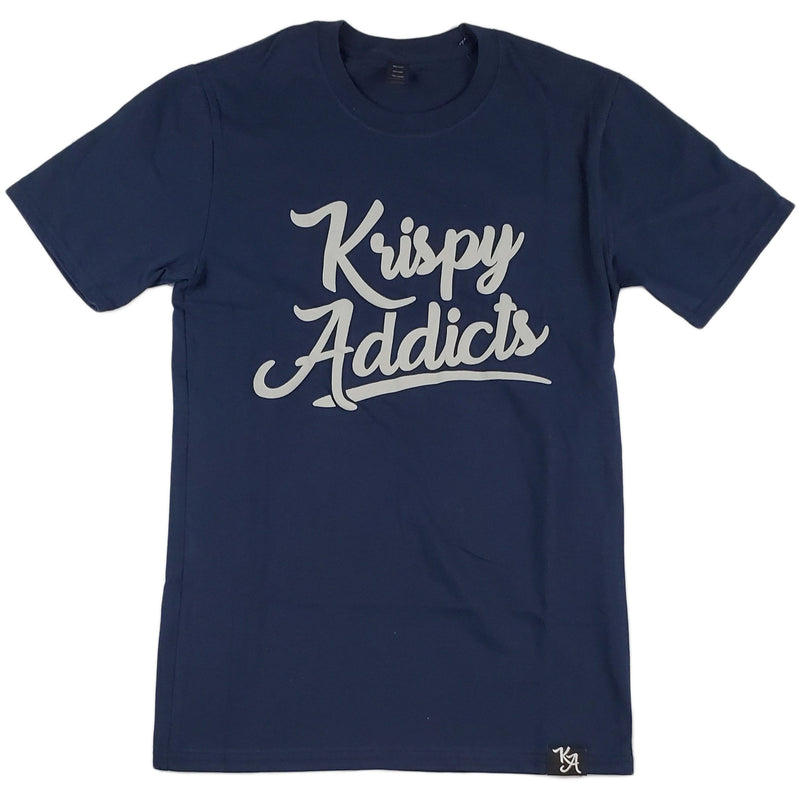 Krispy Addicts - Krispy Logo Raised Tee Navy (grey)