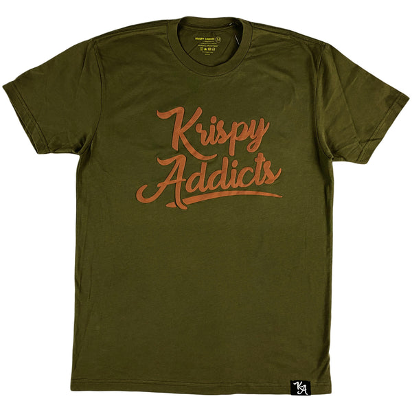 Krispy Addicts - Krispy Logo Raised Tee Olive (brown)