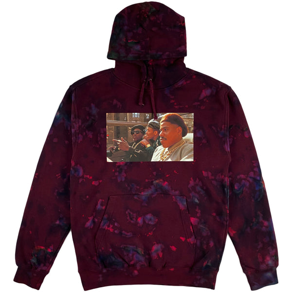 Krispy Addicts - New Jack City Making Plays Acid Wash/Tie Dye Hoodie (maroon)