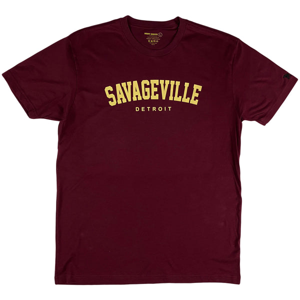 Krispy Addicts - Savageville Detroit Tee Maroon (Cream)