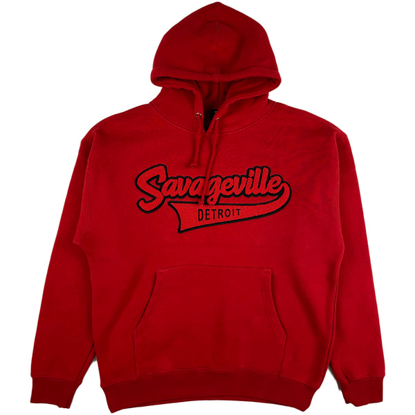 Krispy Addicts - Savageville Tails Chenille Hoodie (red/black)