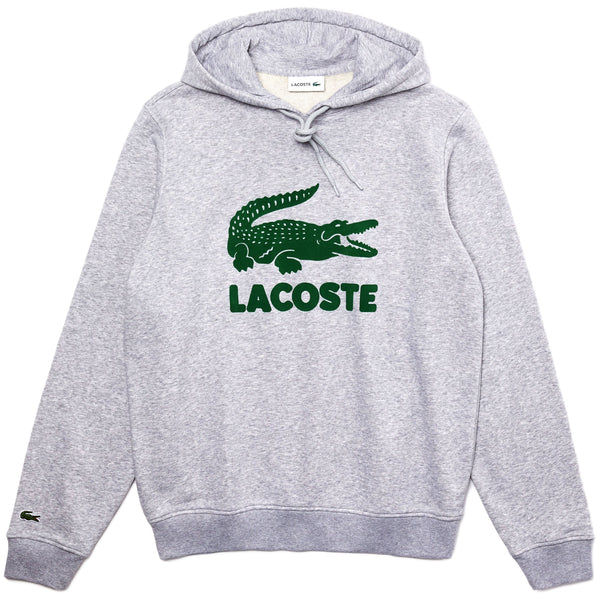 Lacoste - Hooded Fleece Sweatshirt With Printed Logo [sh2169] (silver chine)