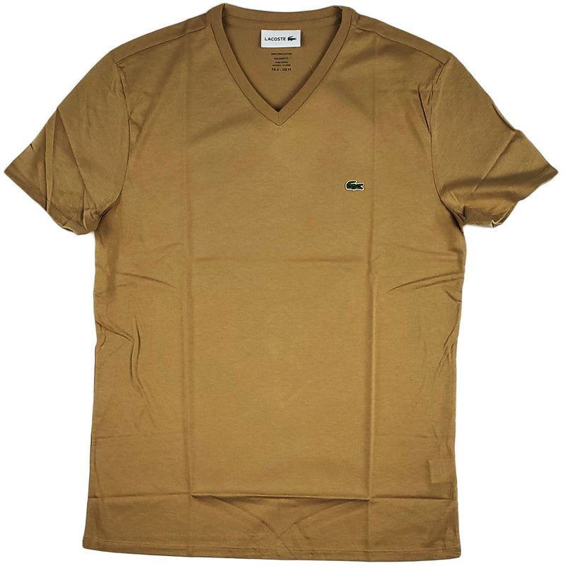 Lacoste - SS Pima V neck Tee (Beige)