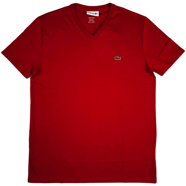 Lacoste - SS Pima V neck Tee (red)