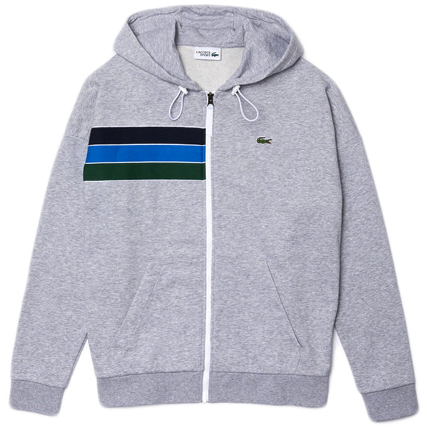 Lacoste - Sport Hooded Colorblock Fleece Zip Sweatshirt (silver/navy blue)