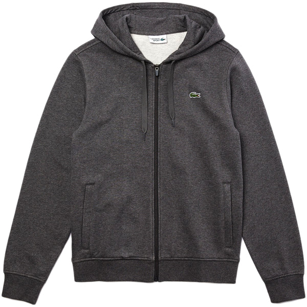 Lacoste - Sport Hooded Lightweight Bi-material Sweatshirt [sh1551] (grey chine / dark grey)