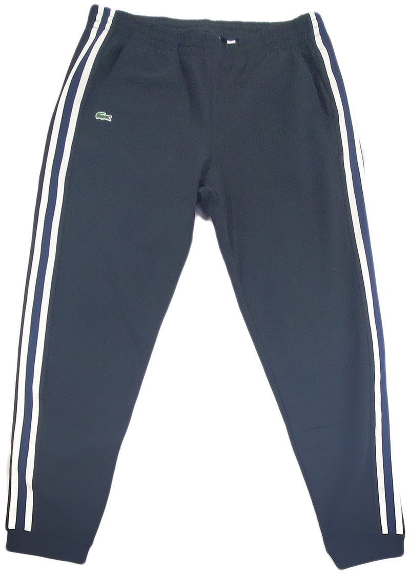 Lacoste Fleece Side Stripe Trackpants (black)