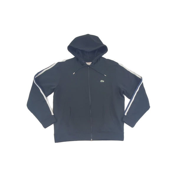 Lacoste Striped-Sleeve Zip Hoodie (black)