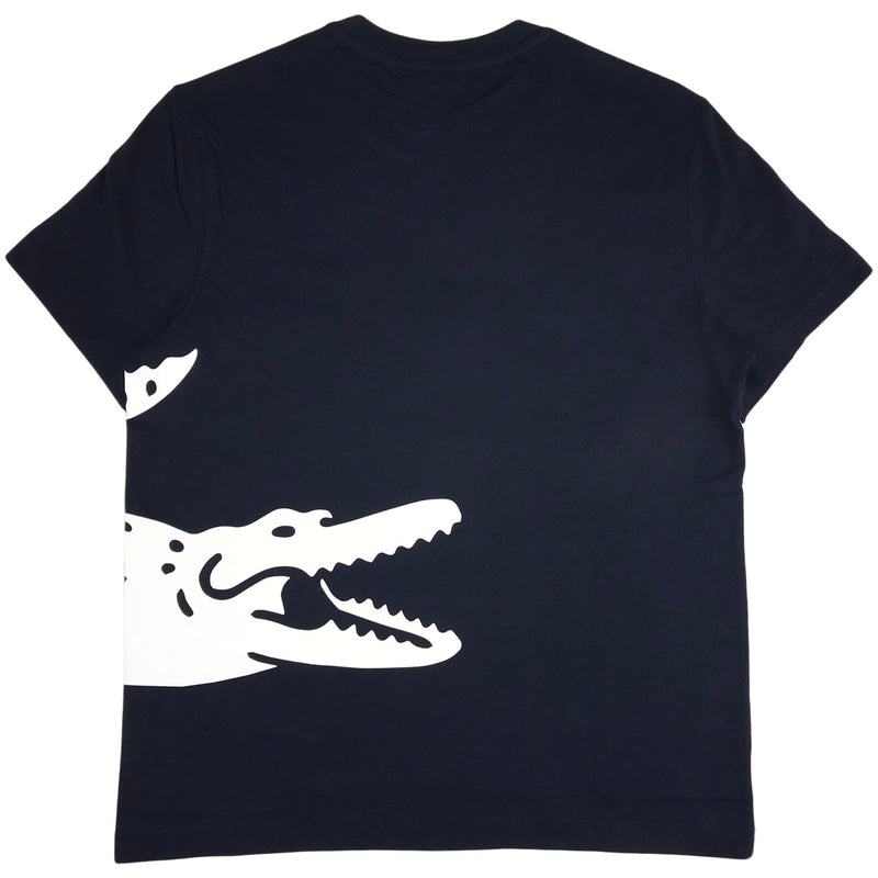 Lacoste ss jersey tee-shirt with a big lacoste crocodile 'pack' (navy)