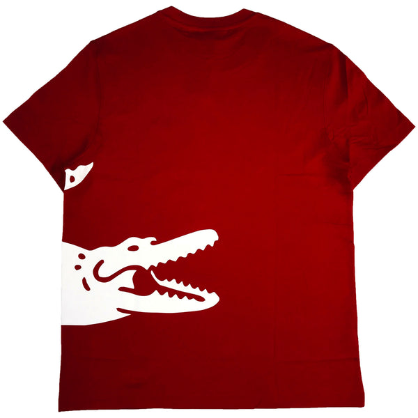 Lacoste ss jersey tee-shirt with a big lacoste crocodile 'pack' (red)