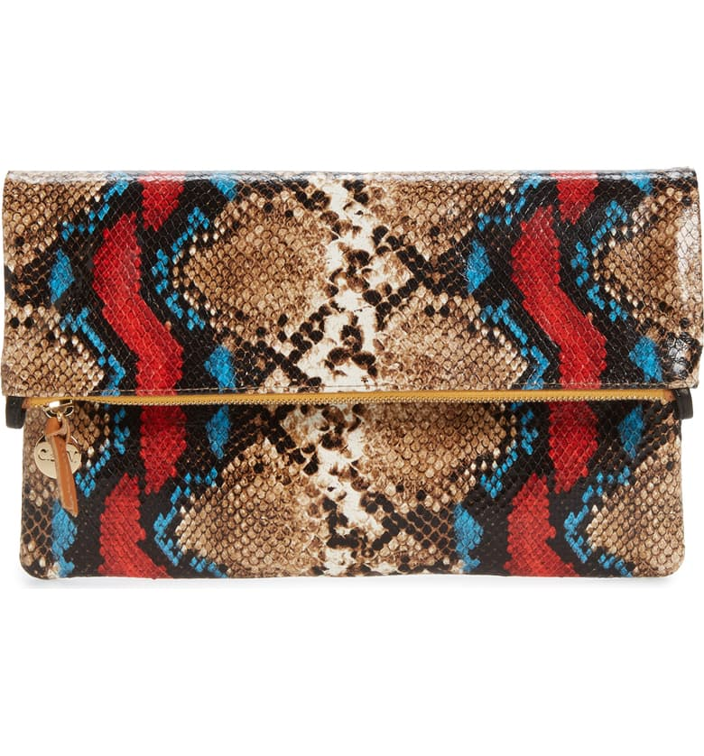 Snake Embossed Foldover Clutch
