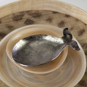 Hammered Metal Whale Dish