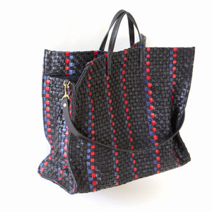 Simple Tote - Black Woven Checker