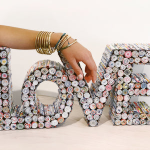 Recycled Magazine LOVE Sign