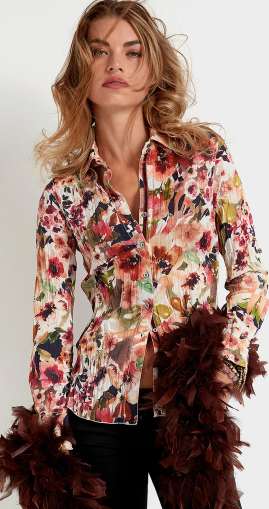 Tuscan Floral Button Down Top