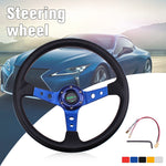 14inch 350mm Universal Aluminum PU Leather Car Sport Racing Drift Steering Wheel Car Accessories