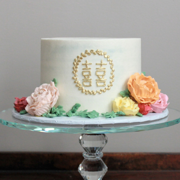 Gilded Monogram + Buttercream Flowers