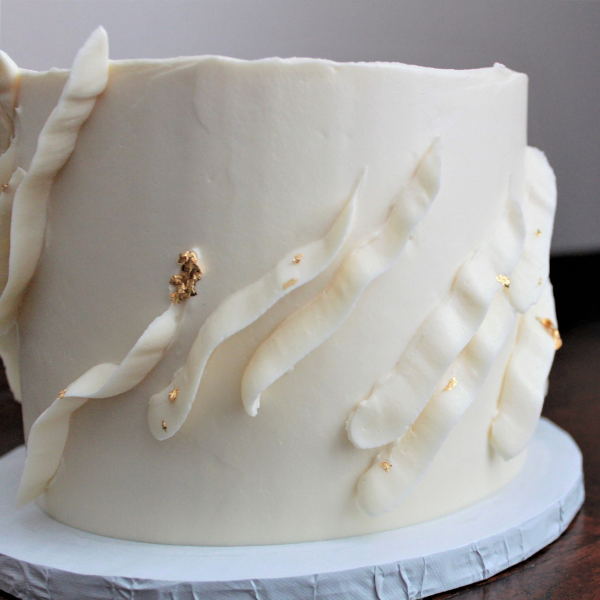 Buttercream Ribbons + Gold Leaf
