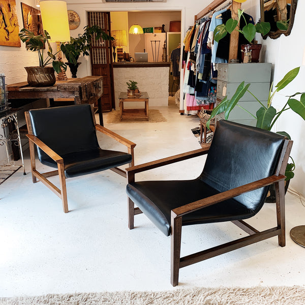 Mid-Century Modern Brazilian Oak Leisure Chairs