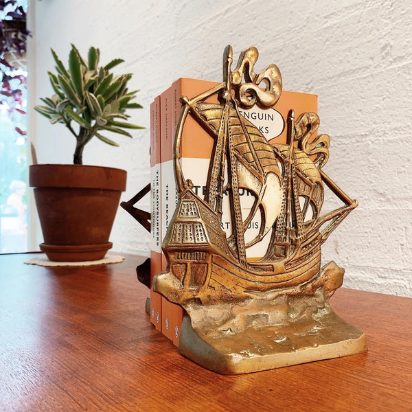 Solid Brass Mid Century Sailing Ships Bookend Treasures