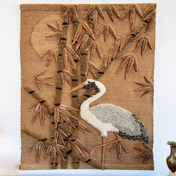 Bamboo Forest Crane Jute Wall Hanging