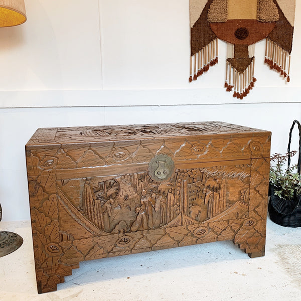 Early 20th Century Hand-Carved Camphor Chest