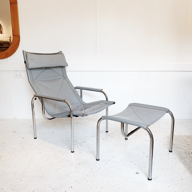 Hans Eichenberger Pewter Grey Lounge Chair and Ottoman